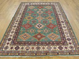 5 x 7 teal super kazak hand knotted oriental rug 100 percent wool cwr24976