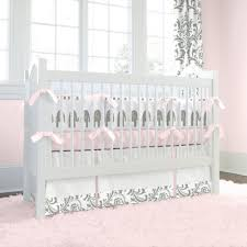 Pink and Gray Elephants Crib Bedding