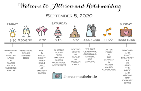 Wedding Timeline Wedding Weekend Timeline 2