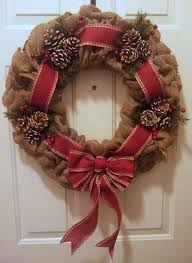 christmas decorating ideas burlap christmas wreath pine cones red ribbon: Christmas  Decorating Ideas Burlap Christmas Wreath Pine Cones Red | Source: ...