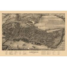 Historic Map Of Portland Maine 1876 Cumberland County Poster Print