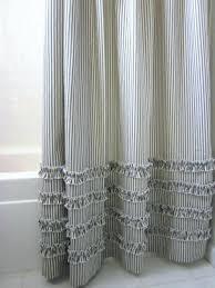 ticking stripe shower curtain ticking stripe shower curtain ticking stripe ruffle shower curtain pottery barn black ticking stripe shower curtain