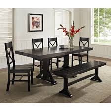 All Wood Dining Room Table Amazon Com We Furniture Piece Black Solid Set  Tables 37664all 96