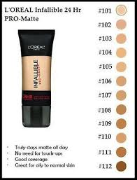 image result for l oreal infallible pro matte color chart