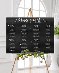 Chalkboard Seating Chart Chalkboard Printed Seating Plan Wedding Seating Chart Wedding Seating Poster