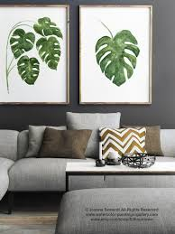 Painting Dining Room Cool Monstera Tropical Palm Leaf Watercolor Painting Green Kitchen Etsy