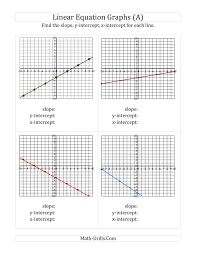 finding slope and intercepts from a linear equation graph math worksheets go algebra find slope y