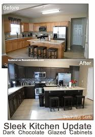 painted black kitchen cabinets before and after. Dark Chocolate Painted Cabinets. Before And After Brown  Kitchen Using Rustoleum Featured On Remodelaholic.com #kitchen #makeover: Painted Black Kitchen Cabinets Before After Pinterest