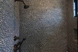 shower with river rock tiles