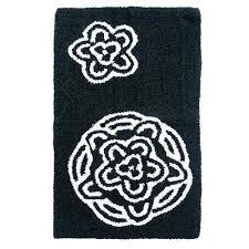 contour bath mat cotton rug reversible home chrysanthemum black white