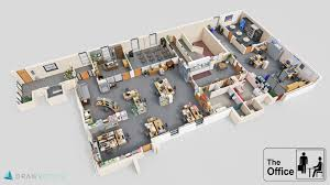 Office floor design Concrete 1 The Office Us Roomsketcher Famous Tv Shows Brought To Life With 3d Plans Drawbotics