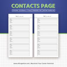 Printable Contacts Page Contacts List Personal Size Planner