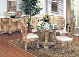 formal dining room furniture sets with wooden dining table with glass top and upholstered dining chairs with wooden base