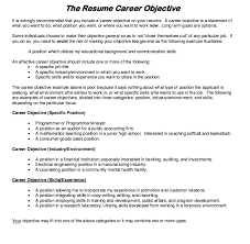 Career Objective Resume Examples Beauteous Sample Career Objectives