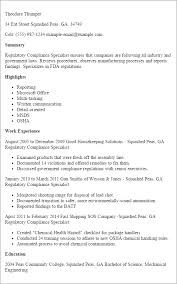 1 Regulatory Compliance Specialist Resume Templates Try Them Now