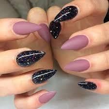 Black Galaxy Polish With Matte Mauve Stiletto Nails Matte Nails