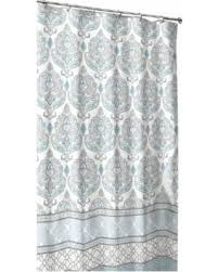 Hot Summer Bargains on Teal Grey White Fabric Shower Curtain Damask