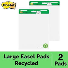 Post It Super Sticky Easel Pad 25 X 30 Inches 30 Sheets Pad 2 Pads 559rp Large White Recycled Premium Self Stick Flip Chart Paper Super