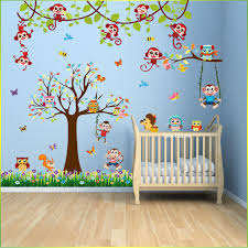 details about owl monkey animal wall sticker jungle zoo tree nursery baby kids room decal art