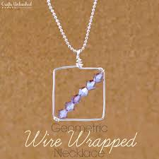 wire wrapping diy geometric necklace
