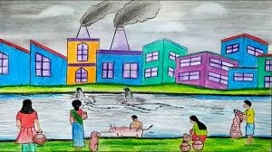 How To Make Chart On Pollution Draw A Scenery Of Water Pollution Step By Step With Oil Pastel