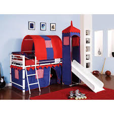 Castle Tent Twin Metal Loft Bed with Slide & Under Bed Storage, ...