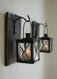Wrought Iron Living Room Furniture Black Lantern Pair 2 With Wrought Iron Hooks On Recycled Wood