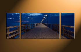 Small Picture 3 Piece Canvas Bridge Blue Ocean Huge Canvas Art