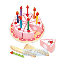 wooden party cake birthday cake set pretend and play pink girl toy with candles