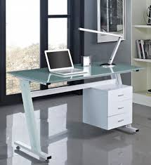 office desk glass top. Computer Desk Black Or White With Glass Top And 3 Drawers Home Office PC Table I