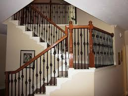 Stairs, Surprising Rod Iron Staircase Wrought Iron Balusters Brown Woods  With Black Straight Iron Staircase