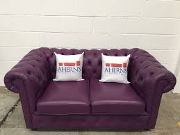 purple leather chesterfield sofa