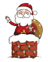 santa claus chimney clipart. Cute Santa Claus With His Gift Sack Waving As He Goes Down The Chimney For Clipart