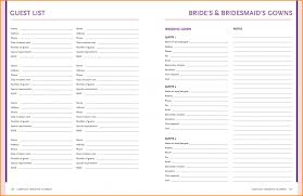 Party List Template Exceptional Wedding Party List Template Ulyssesroom