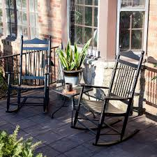 dixie seating linville indoor outdoor spindle rocking chairs black set of 2 hayneedle