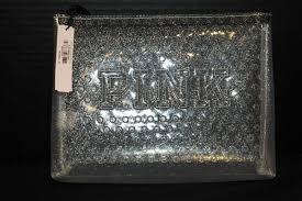 victoria s secret pink makeup bag purse cosmetic case clear glitter new