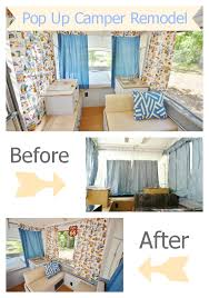 pop up camper remodel before and after shots as well as diy tutorials for