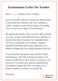 Letter To Terminate Contract With Supplier Termination Letter Template For Vendor Format Sample Example