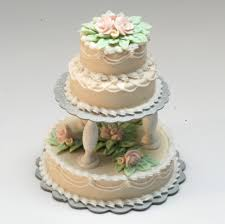 Ecru 3 Tier Wedding Cake Wpink Roses Stewart Dollhouse Creations