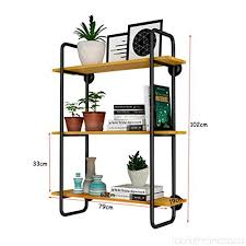 floating shelves wall shelves hanging shelf 3 tier in retro style wall decorative display storage shelf metal iron bracket wood black bedroom living room