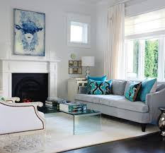 black white and turquoise living room