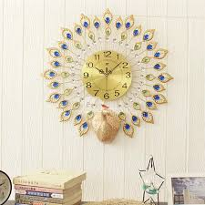 7 peacock pattern round iron and diamond battery mute hanging wall clock