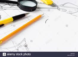 office drawing tools. Magnifier And Office Tools At Drawing