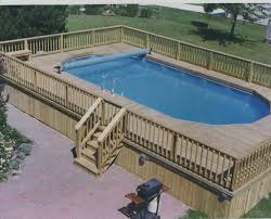 image of above ground pool deck ideas oval