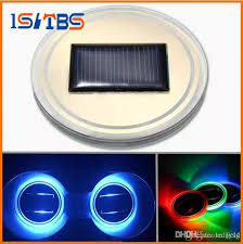 universal car cup holder solar powered bottom pad led solar light cover trim atmosphere lamp car lights chandeliers