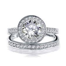 925 Sterling Silver Round 2ct Cz Engagement Wedding Band Ring Set