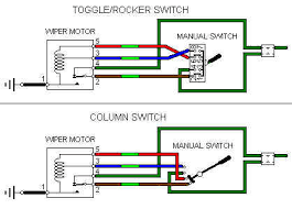 wipers later two speed the rocker toggle switches have pins 1 3 5 and 7 connected together internally in the off position contacts 1 and 2 park brown light green