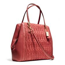 Lyst - Coach Madison Northsouth Satchel in Gathered Twist Leather in Red