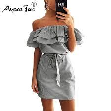 <b>2019</b> Off Shoulder Strapless <b>Striped</b> Ruffles Dress Women <b>Sexy</b> ...
