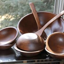 vintage walnut wood salad bowl set including large wood servin
